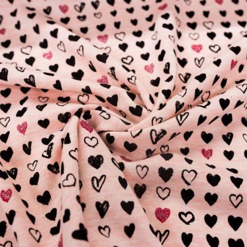 Jersey molleton rose imprimé coeur pailleté