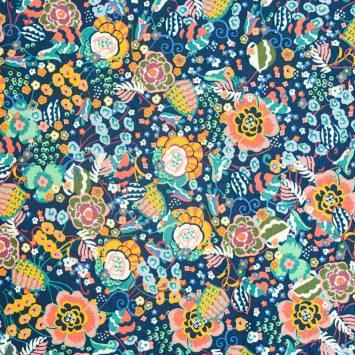Jersey molleton bleu motif floral