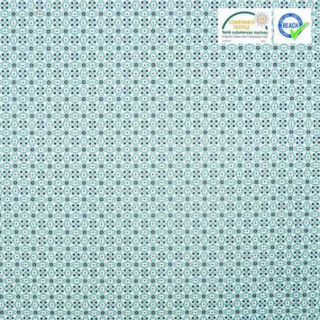 Coton turquoise motif mosaique blanc et violet