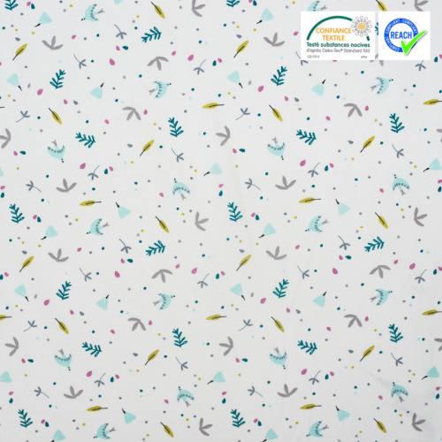 Coton blanc motif oiseau et feuille