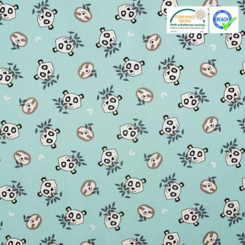 Coton bleu givré imprimé tête de panda et paresseux