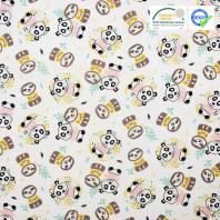 Coton blanc imprimé panda et paresseux