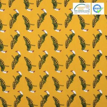 Coton ocre motif toucan vert