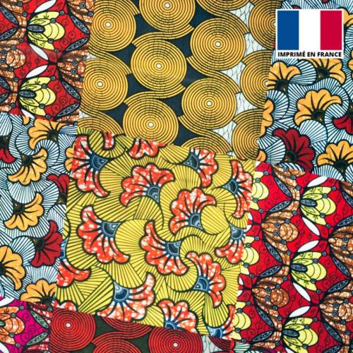 Mousseline crêpe imprimée patchwork de wax