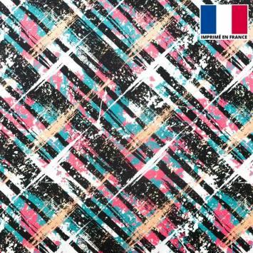 Tissu microfibre multicolore imprimé traits de peinture