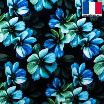 Tissu microfibre noir imprimé fleur graphique bleue et verte