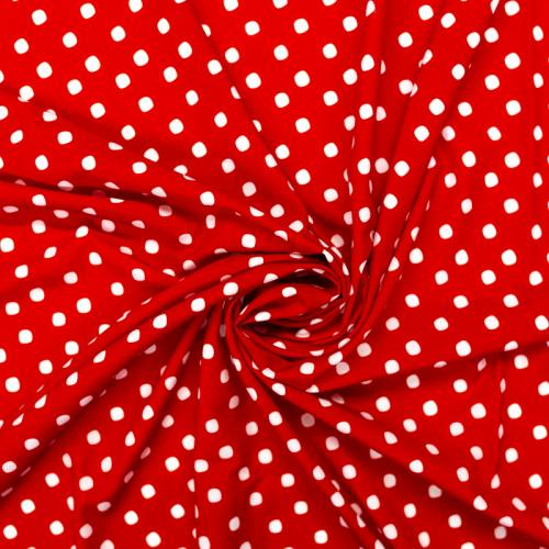 Tissu microfibre rouge imprimé pois blanc