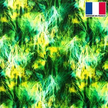 Tissu microfibre noir imprimé feuillage jaune et vert