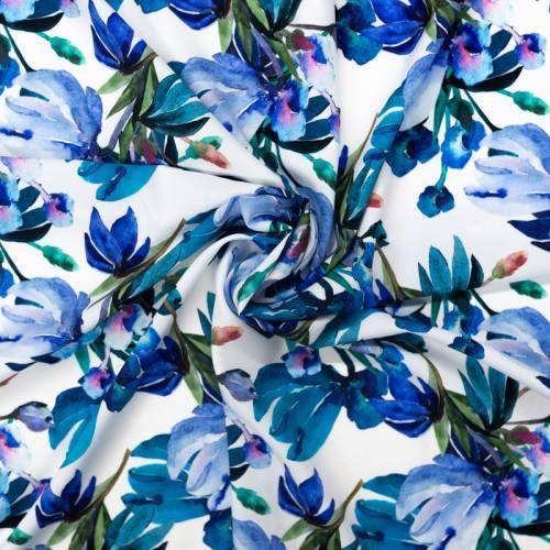 Tissu microfibre écru imprimé fleur aquarelle bleue