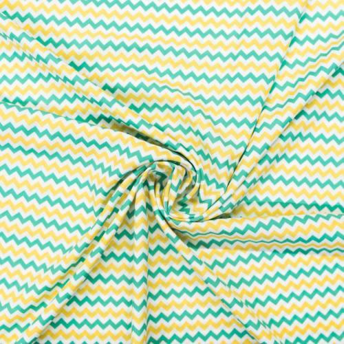 Tissu microfibre imprimé chevron vert jaune et écru