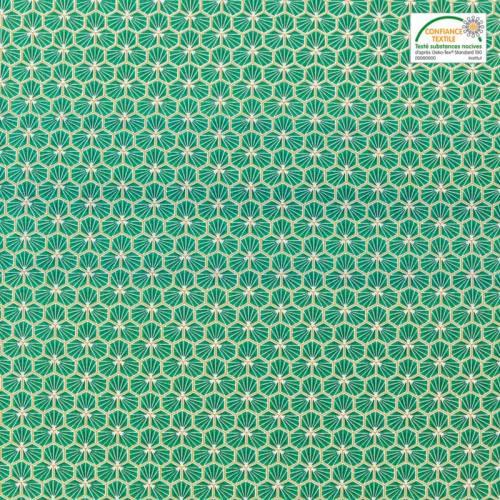 Coton vert motif trèfle riad