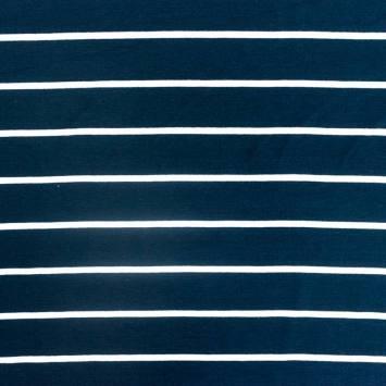 coupon - Coupon 50cm - Jersey viscose bleu marine rayé blanc