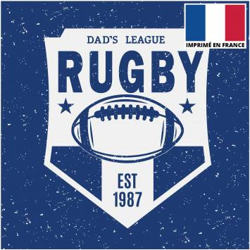 Coupon 45x45 cm toile canvas écusson rugby bleu