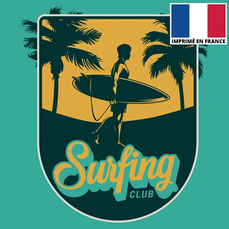 Coupon 45x45 cm toile canvas surfing club vert