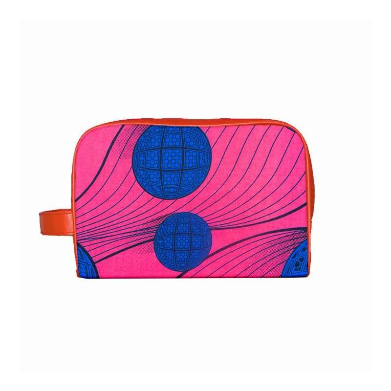coupon - Coupon 80cm - Wax - Tissu africain rose motif boule bleue 335