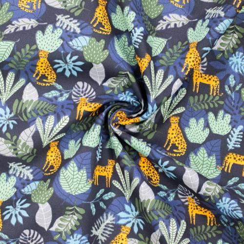 Coton bleu nuit imprimé léopard et jungle vert et bleu