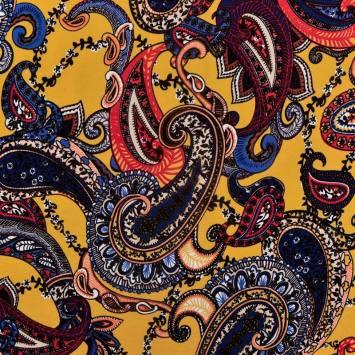 Jersey viscose ocre imprimé cachemire orange, bleu et rouge
