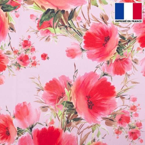 Satin rose imprimé coquelicot peint