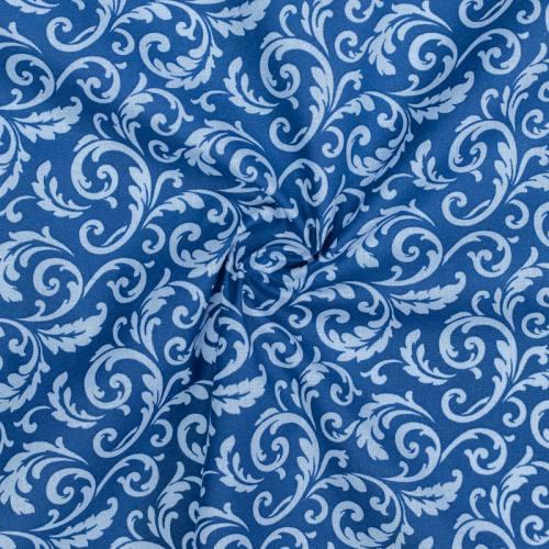 Coton bleu foncé imprimé arabesques végétales bleu clair