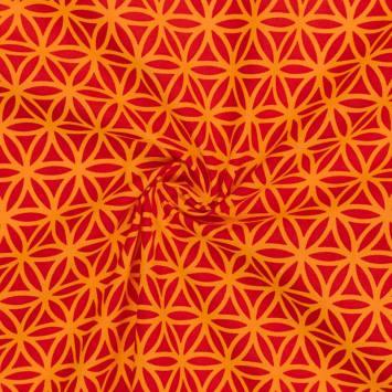 Coton rouge imprimé rosace orange