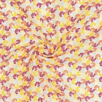 Coton blanc imprimé alvéole orange et jaune