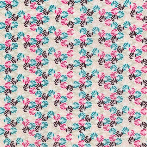 Coton blanc imprimé alvéole vert et rose