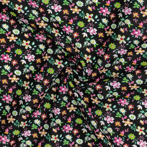 Coton noir imprimé petites fleurs