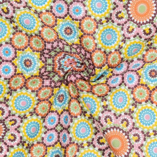 Coton imprimé rosace mosaïque orange