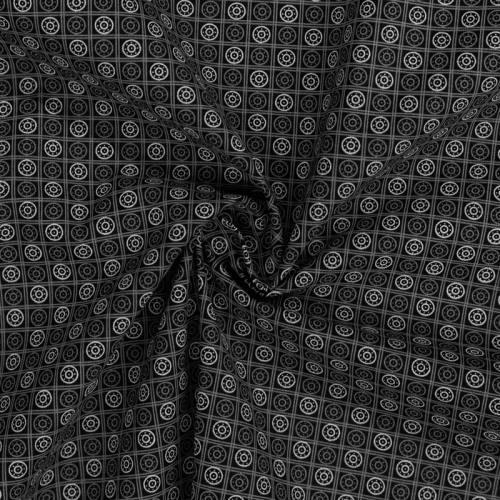 Coton spécial chemise noir imprimé carreaux et cercles gris