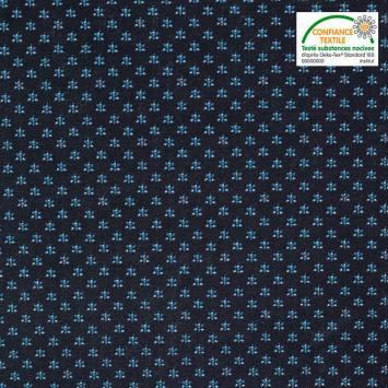 Coton spécial chemise bleu marine imprimé mini-fleurs bleues