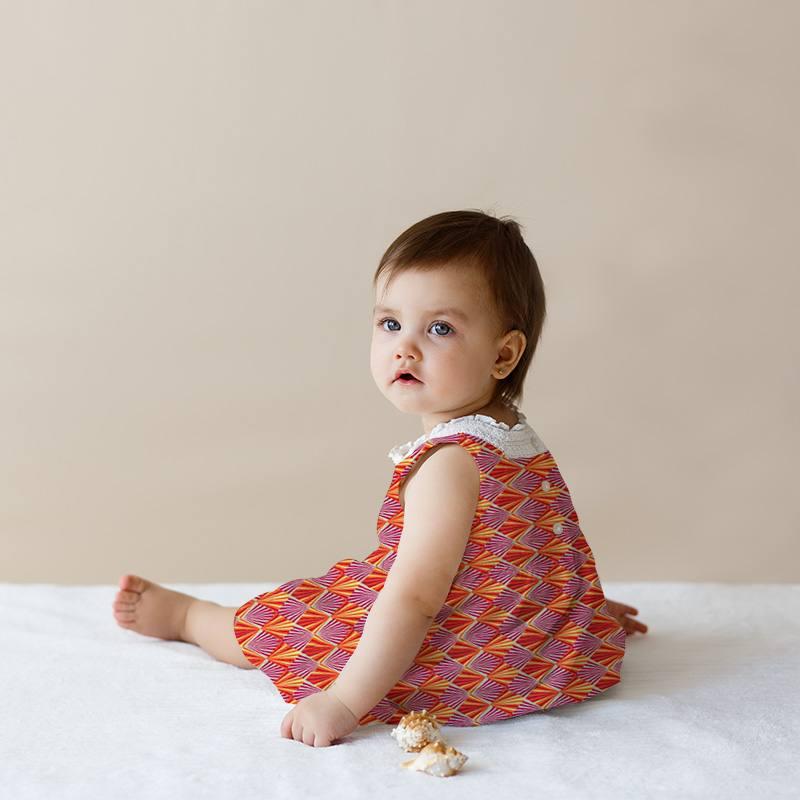 Coton imprimé losange rayon jaune orange et framboise