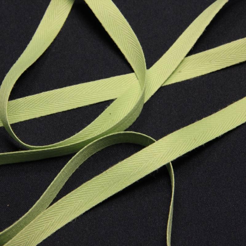 Ruban sergé vert amande 11 mm