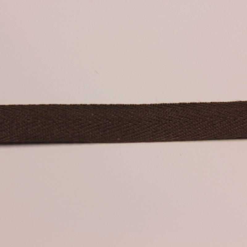 Ruban sergé chocolat 11 mm