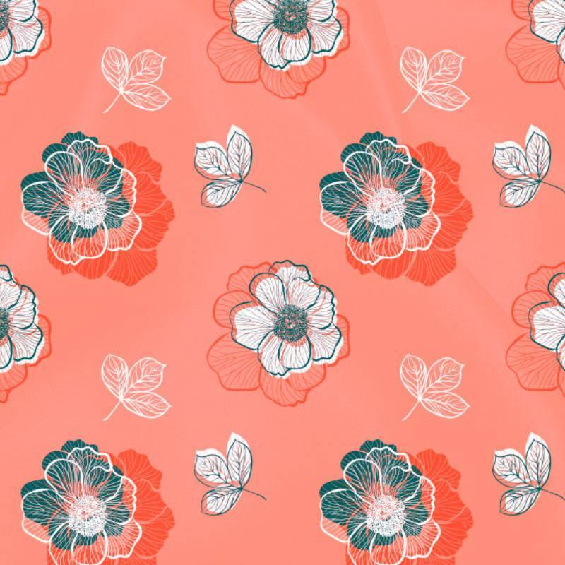 Satin corail imprimé multi-fleurs