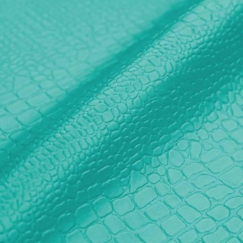 Simili cuir croco bleu turquoise