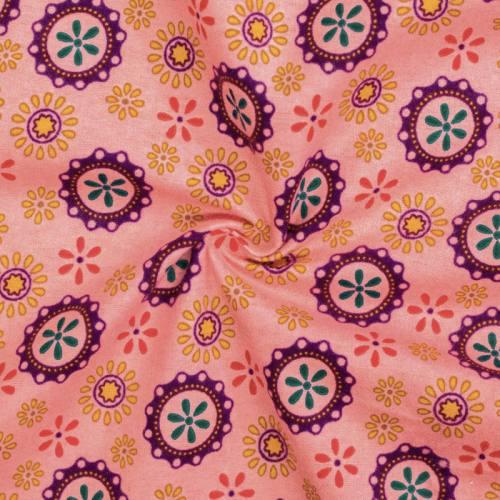 Flanelle de coton rose imprimée rosaces