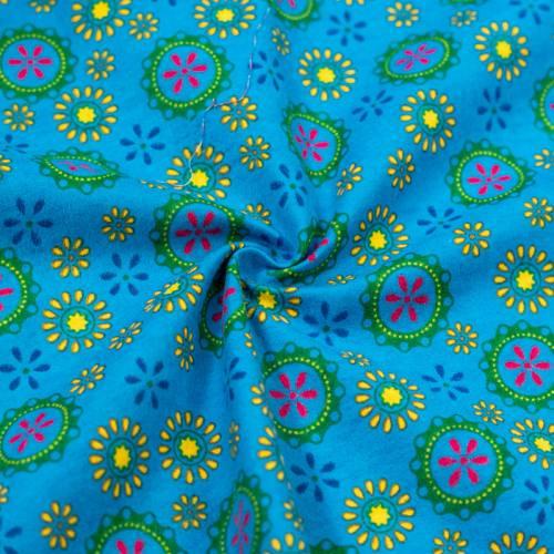 Flanelle de coton bleue imprimée rosaces