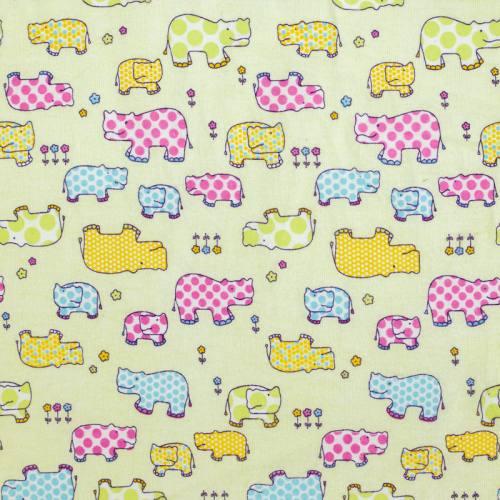 Flanelle de coton verte imprimée hippopotame