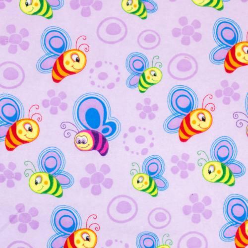 Flanelle de coton violette imprimée abeille