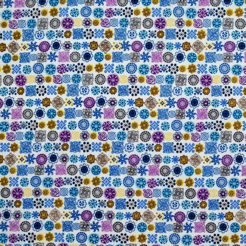 Flanelle de coton blanche imprimée formes géométriques bleues