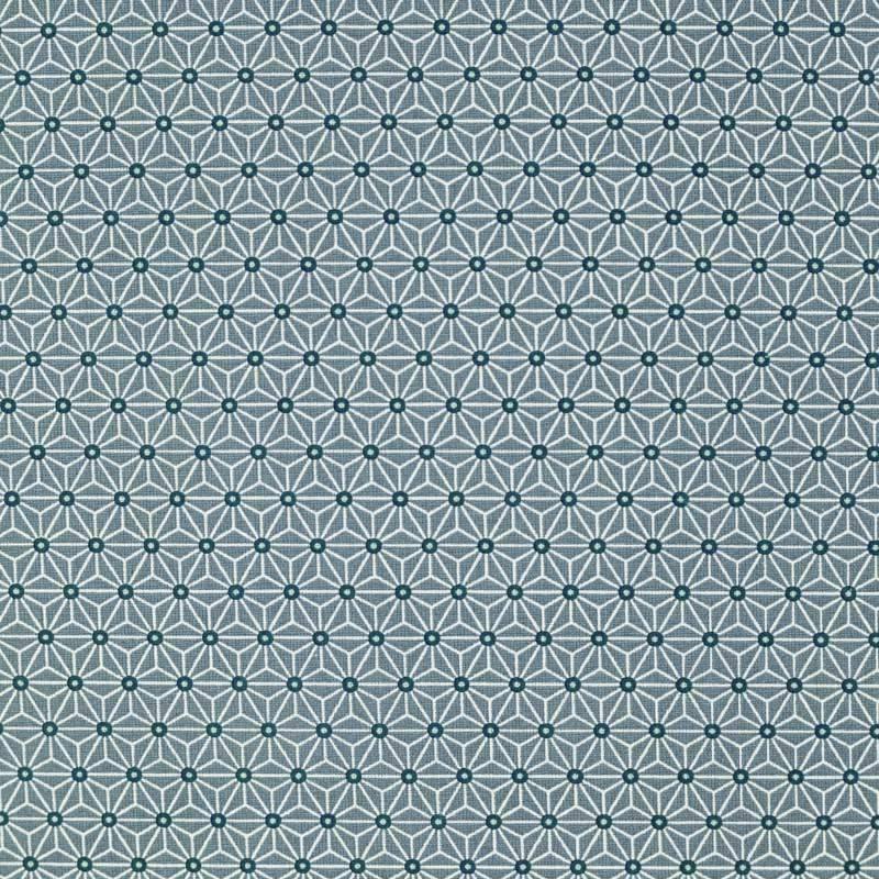 Coton bleu horizon petit motif asanoha blanc