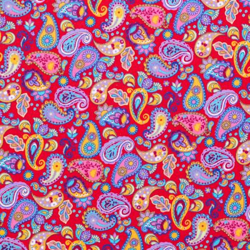 Coton rouge imprimé cachemire fleuri multicolore