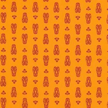 Coton jaune imprimé cigale rouge