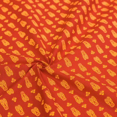 Coton rouge imprimé cigale jaune