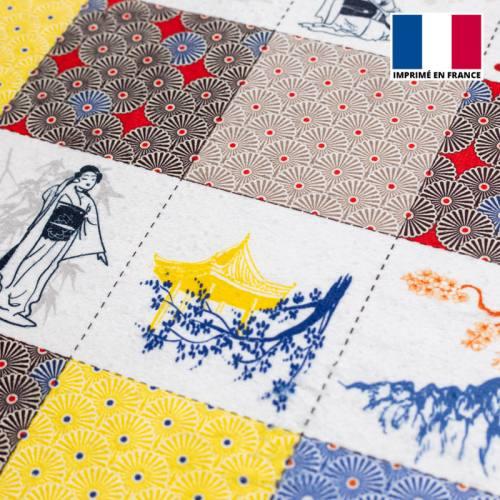 Coupon éponge pour lingettes démaquillantes motif japonais
