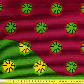 Wax - Tissu africain fuchsia, vert et jaune imprimé coquillage 382