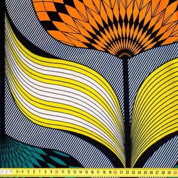 Wax - Tissu africain jaune, vert et orange 372