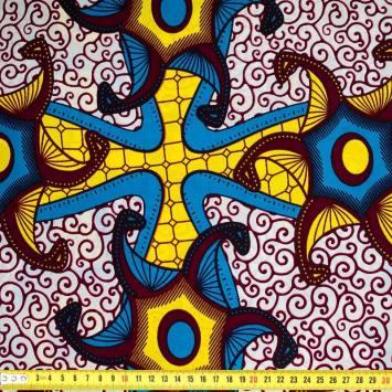 Wax - Tissu africain jaune et bleu 371