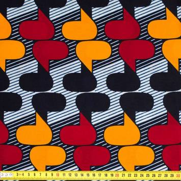 Wax - Tissu africain rouge et safran motif bulle et rayure 368