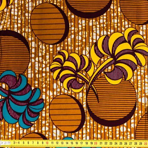 Wax - Tissu africain marron motif jaune et bleu 386